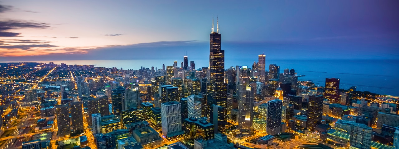 chicago-skyline-aerial-view-at-dusk